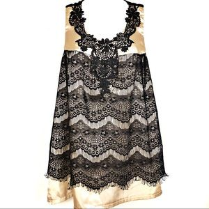 Studio Y Gold and Black Lace Decorative Tank Top